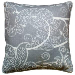 Flowery Gray & White Cushion