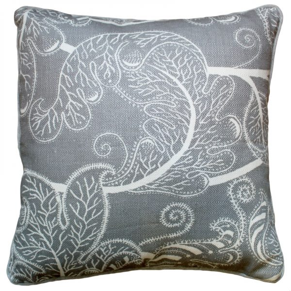 Flowery Gray & White Cushion