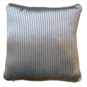 Silver Cushion With Dark Vertical Thin Stripes Cushion